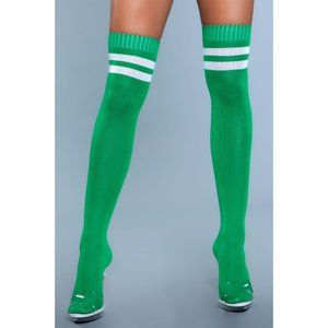 Athletic Striped Top Thigh High Stockings Green